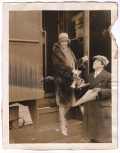 Louise Brooks arrives in Hollywood, with Monte Brice  (1927)