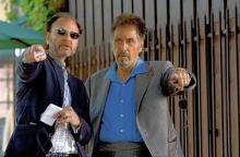 "Fisher Stevens, left, directs Al Pacino on the set of ""Stand Up Guys"""